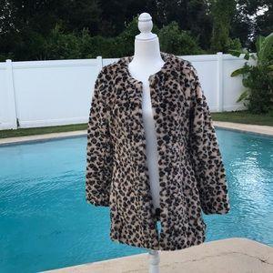 Vegan Fur Leopard Print Coat